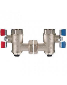 Vanne d'arrêt d'équerre eau chaude et eau froide pour premix Confort et Securit - Delabie