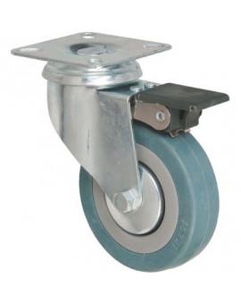 Roulette pivotante à platine avec frein série S14 AF - Caujolle