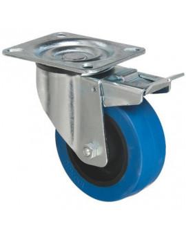 Roulette caoutchouc Tecnibleu platine pivotante à frein série S2NS - Caujolle
