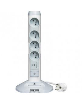 Bloc multiprise vertical multimédia avec parafoudre 3G1,5 mm² - Legrand