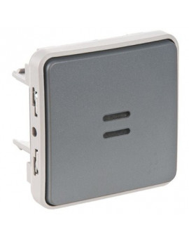 Poussoir NO lumineux Plexo composable IP55 - Legrand