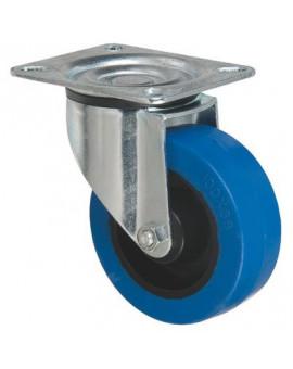 Roulette caoutchouc Tecnibleu platine pivotante série S2N - Caujolle
