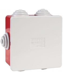 Boîte carrée de dérivation avec passe-fils - rouge - IP44 - Gewiss
