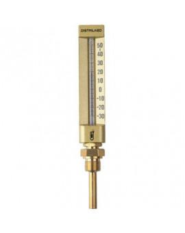 Thermomètre droit boîtier aluminium pour climatisation - Distrilabo
