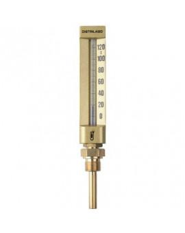 Thermomètre droit boîtier aluminium pour chauffage - Distrilabo