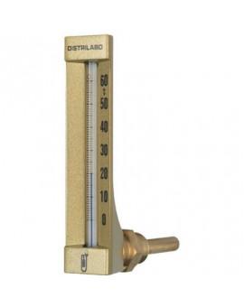 Thermomètre coudé boîtier aluminium pour plancher chauffant - Distrilabo